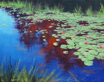 LILY POND PAINTING Original Painting Landscape art  by listed artist  Graham Gercken