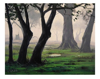 GREEN WOODLAND PAINTING spring trees landscape fine art by G.Gercken