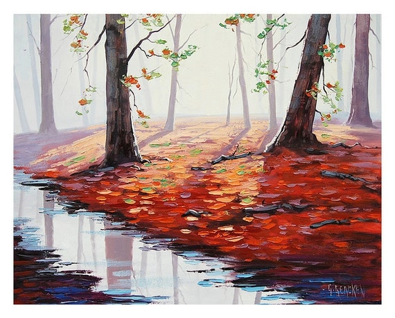 AUTUMN PAINTING red fall trees landscape