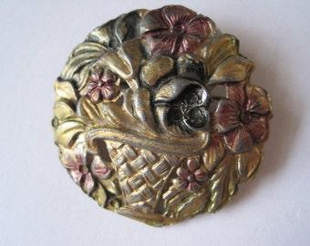 Vintage Flower Basket Brooch