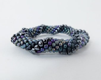 Bead Crochet Rope Bangle, Spiral Design in Grey, Violet and Blue- Item 1275b