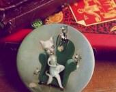 Belling The Cat -  pocket mirror by Meluseena