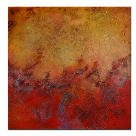 Red Large Art Painting Abstract Heavy Textured Painting