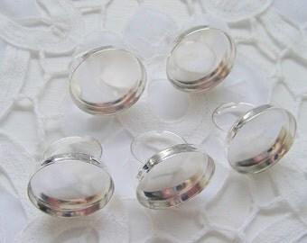 5 Ring Blanks Shiny Silver 25mm No.DP531