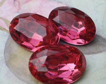 Vintage 25x18mm Dark Rose Gold Foiled Pointed Back Faceted Oval Glass Jewel or Cab (1 piece)