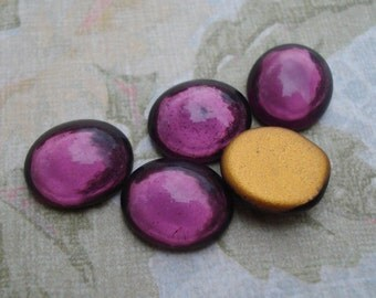 Vintage 12x10mm Amethyst Gold Foiled Flat Back Oval Glass Cabs (6 pieces)