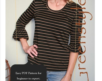 Updated Greenstyle Bella Bubble Sleeve T-Shirt PDF Pattern for Women in Sizes XXS to 3XL