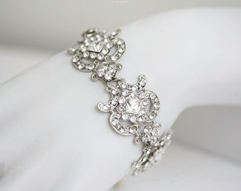 Art Deco Bridal Bracelet Swarovski Crystal Wedding Cuff Bracelet Vintage Wedding Jewelry CHLOE