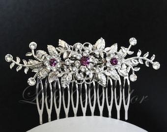 Wedding Hair Comb Vine Leaf Bridal Hair Clip Amethyst Crystal Purple Wedding Hair Accessories GENOA DELUXE