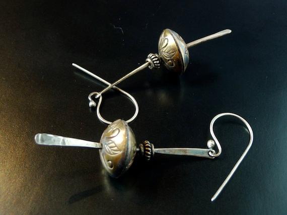 handmade brass bead and silver earrings