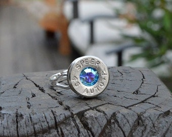 Bullet Shell Ring Handcrafted by me...... Silver Speer .45 auto ring with Swarovski crystal