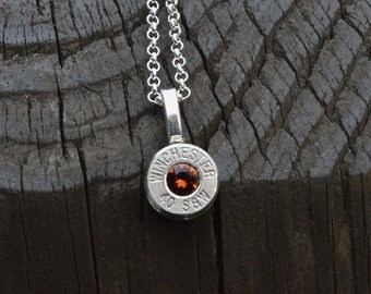Bullet Necklace..... Silver Winchester .40 S&W pendant necklace with Swarovski crystal