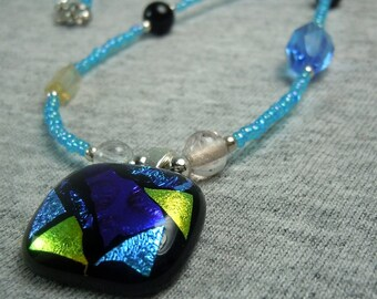 Blue with Green Dichroic Glass Pendant Necklace - CLEARANCE