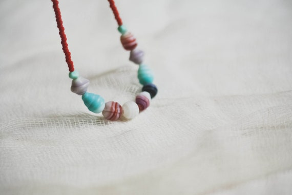 magnol-y'all collection: red velvet cake - a matte glass beaded necklace by budpnq