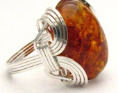 Handmade Sterling Silver Wire Wrap Amber Ring