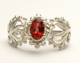 Handmade Sterling Silver Garnet Filigree Gemstone Ring