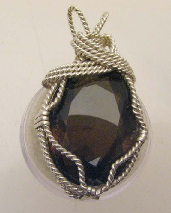 Handmade Sterling Silver Wire Wrap Faceted Smoky Quartz Pendant