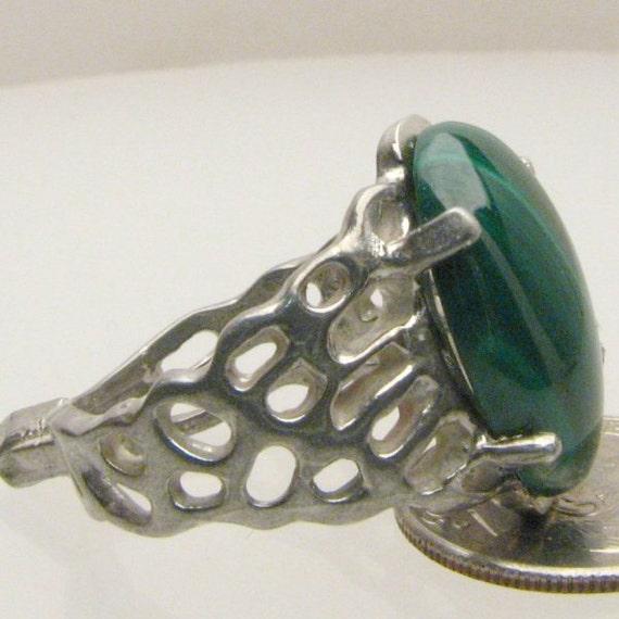 Handmade Artisan Sterling Silver Malachite Gemstone Lava Ring