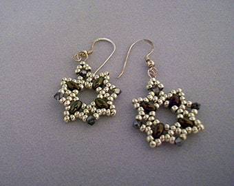 Cathedral Squares Earrings-Beaded