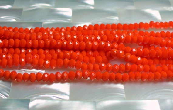 4mm Chinese glass Crystal rondelles Opaque Orange 50pc Strand