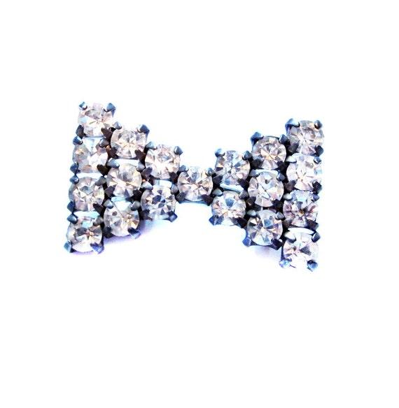 Vintage Bowtie Brooch, Silver, Crytal Rhinestone Tie Pin