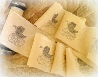 Hand Stamped Muslin  Baby Carriage