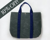 Ready to Ship Sale: Waxed Canvas Tote in Gray and Navy