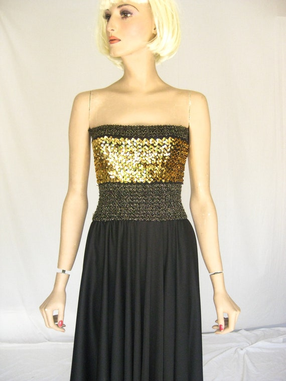 Vintage 70s Black Sequin DISCO DRESS