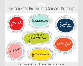 Frames clipart - hand drawn frames, geometric, abstract, ornate frames, digital frames collage and scrapbooking for commercial use