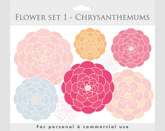Flower clipart - blooms clipart, flowers, floral, floral clipart, pink, blue, yellow, for personal and commercial use