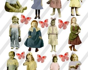 Digital Collage Sheet Children (Sheet no.F19) Instant Download