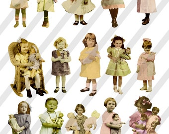 Digital Collage Sheet Children Girls with Dolls (Sheet no. F26) Instant Download