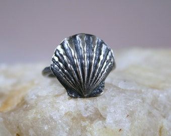 Sunrise Shell Ring, Shell Ring, Made in Hawaii, Beach Jewelry, Shell Jewelry, Silver Shell, Nautical Jewelry, PMC Shell