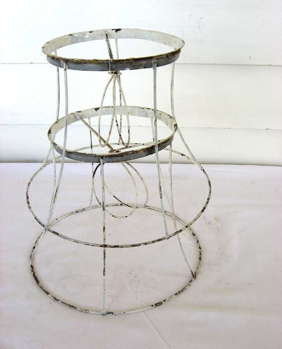 Pair of 1940's Vintage Wire Table Lamp Shade Frames in Old White Paint for Creative Uses, Supplies