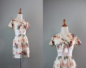 Vintage 1940s Playsuit Set / 40s Aloha Hawaiian Blouse and Shorts / Novelty Print Set