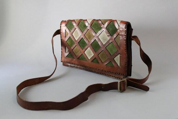 Vintage 70s Bag / 1970s Leather Cross Body Bag / Suede Shoulder Bag