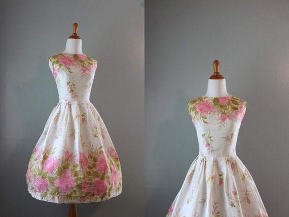 Vintage 60s Dress / 1960s White Floral Party Dress / 60s Sundress