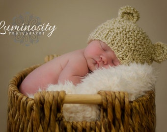 Newborn Baby Bear Hat, Knit Bear Hat, Baby Beanie Hat, Newborn Photo Prop, Soft Vegan Newborn Photo Prop, Baby Boy Hat, Baby Girl Hat
