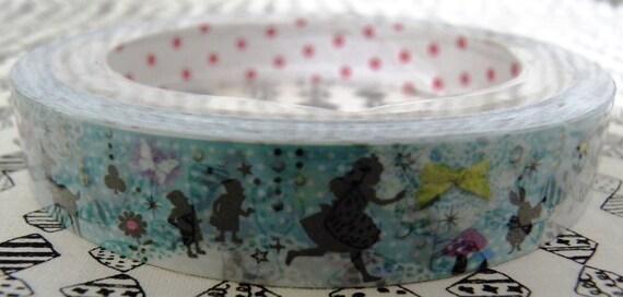 Deco Tape Alice in Wonderland Silhoutte Blue Fairy Tale Dream Running