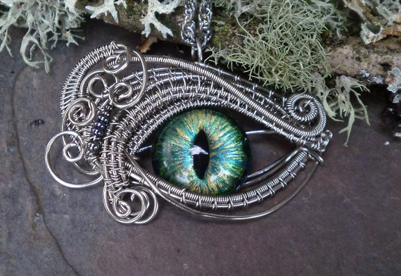 Gothic Steampunk Evil Cat Eye Pendant with Gold Green Blue glass eye