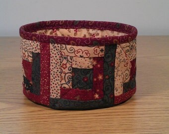 Quilted Fabric Bowl - Log Cabin - Christmas (XbowlN)