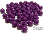 6mm Smooth Round Acrylic Beads in Violet 100pcs