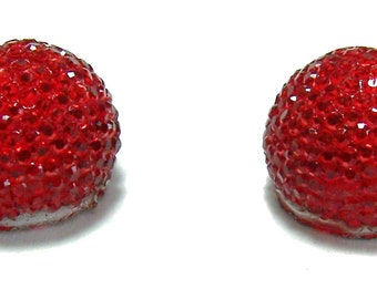 16mm flat back ball cabochon resin rhinestone half bead in Siam Red set of 2