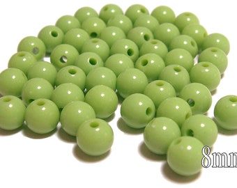 8mm Smooth Round Acrylic Beads in Light Olive 50 beads