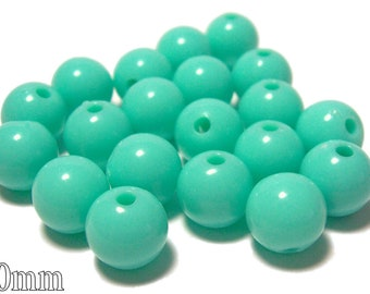 10mm Opaque acrylic plastic beads in Mint Green Tiffany color 20 beads