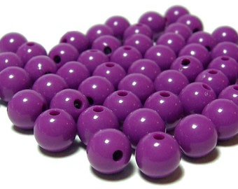 8mm Smooth Round Acrylic Beads in Red Violet 50 pcs