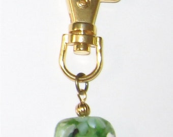 Green Mother of Pearl Gold Zipper Pull