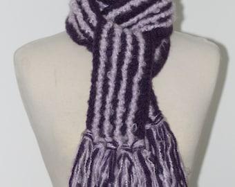 Crochet Fringed Scarf Purple Lilac Stripe Extra Long Acrylic Yarn Ready to Ship