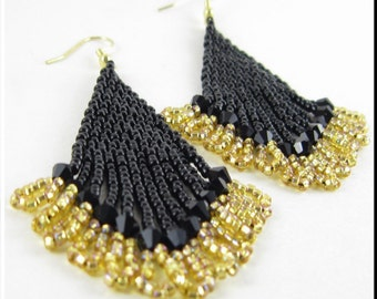Handmade Beaded Earrings Beadwork Dangle Chandelier Seed Bead Earrings Black and Gold