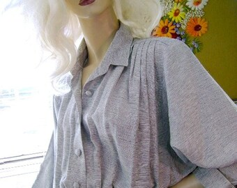 Vintage 80s steel gray dress mid length nina piccalino size 8